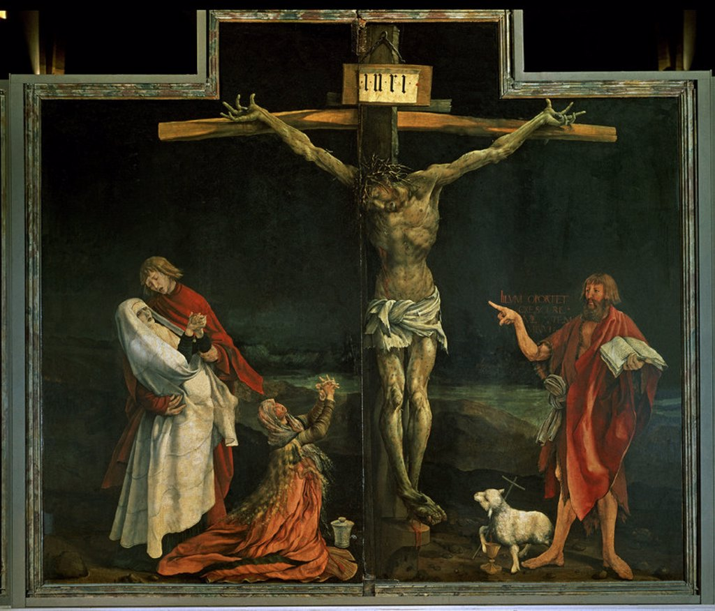 German school. Isenheim Altarpiece (detail of the Crucifixion). 16th century. Renaissance. Colmar, Unterlinden Museum. France. Author: GRUENEWALD, MATTHIAS. Location: MUSEO UNTERLINDEN, COLMAR, FRANCE. : Stock Photo