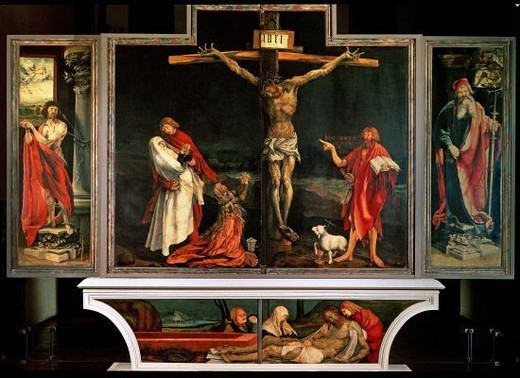 German school. Issenheim Altarpiece (open). In the middle: The Crucifixion. On the l.: St. Sebastian. on the r.: St. Anthony. On the predella: The Entombment. Author: GRUENEWALD, MATTHIAS. Location: MUSEO UNTERLINDEN, COLMAR, FRANCE. : Stock Photo