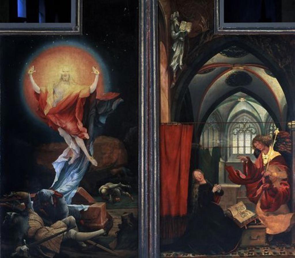 Stock Photo: 4409-19503 German school. The Isenheim Altarpiece - Detail - The resurrection Retablo de Issenheim - Detalle - La resurrección. 16th century - German Rebirth. Colmar, Unterlinden Museum. Author: GRUENEWALD, MATTHIAS. Location: MUSEO UNTERLINDEN, COLMAR, FRANCE.