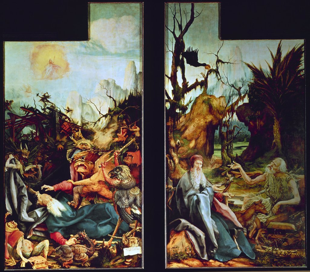 Stock Photo: 4409-19504 German school. The Isenheim Altarpiece - Detail - The Temptation of Saint Anthony. Retablo de Issenheim - Detalle - La Tentación de San Antonio . 16th century - German Rebirth. Colmar, Unterlinden Museum. Author: GRUENEWALD, MATTHIAS. Location: MUSEO UNTERLINDEN, COLMAR, FRANCE.