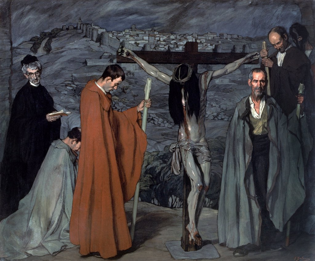 Stock Photo: 4409-19600 El Cristo de la Sangre (The Passion of the Christ). 1911. Oil on canvas (250 x 300 cm). Madrid, Reina Sofia museum. Author: ZULOAGA, IGNACIO. Location: MUSEO REINA SOFIA-PINTURA, MADRID, SPAIN.