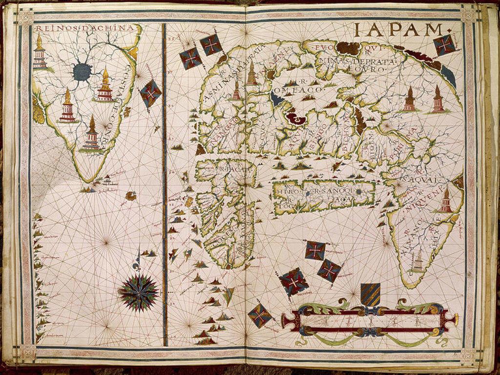 ATLAS PORTULANO - 1568 - MAPA DE JAPON - FOL 9- S XVI CARTOGRAFIA. Author: VAZ DOURADO FERNAO. Location: PRIVATE COLLECTION, MADRID, SPAIN. : Stock Photo