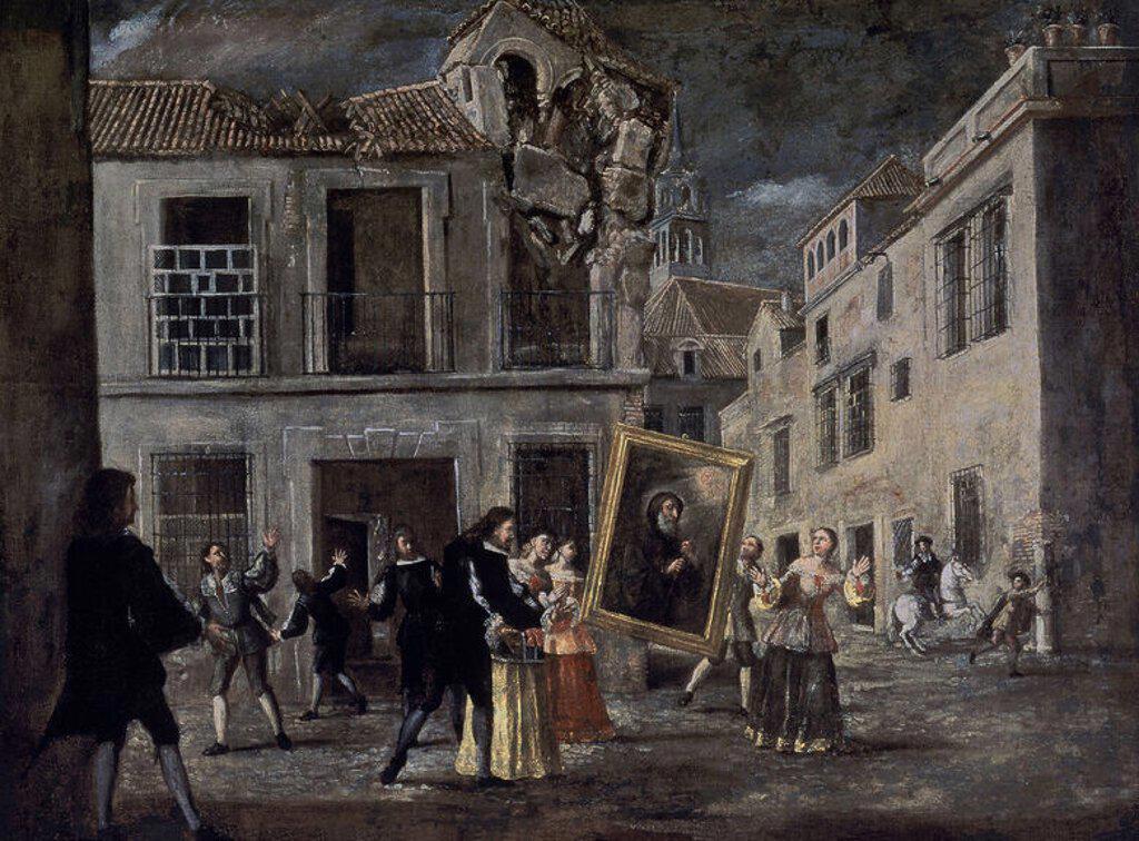 TERREMOTO DETENIDO POR S FRANCISCO DE PAULA-HACIA 1700-. Author: VALDES LUCAS. Location: MUSEO DE BELLAS ARTES-CONVENTO DE LA MERCED CALZAD, SEVILLE, SPAIN. : Stock Photo