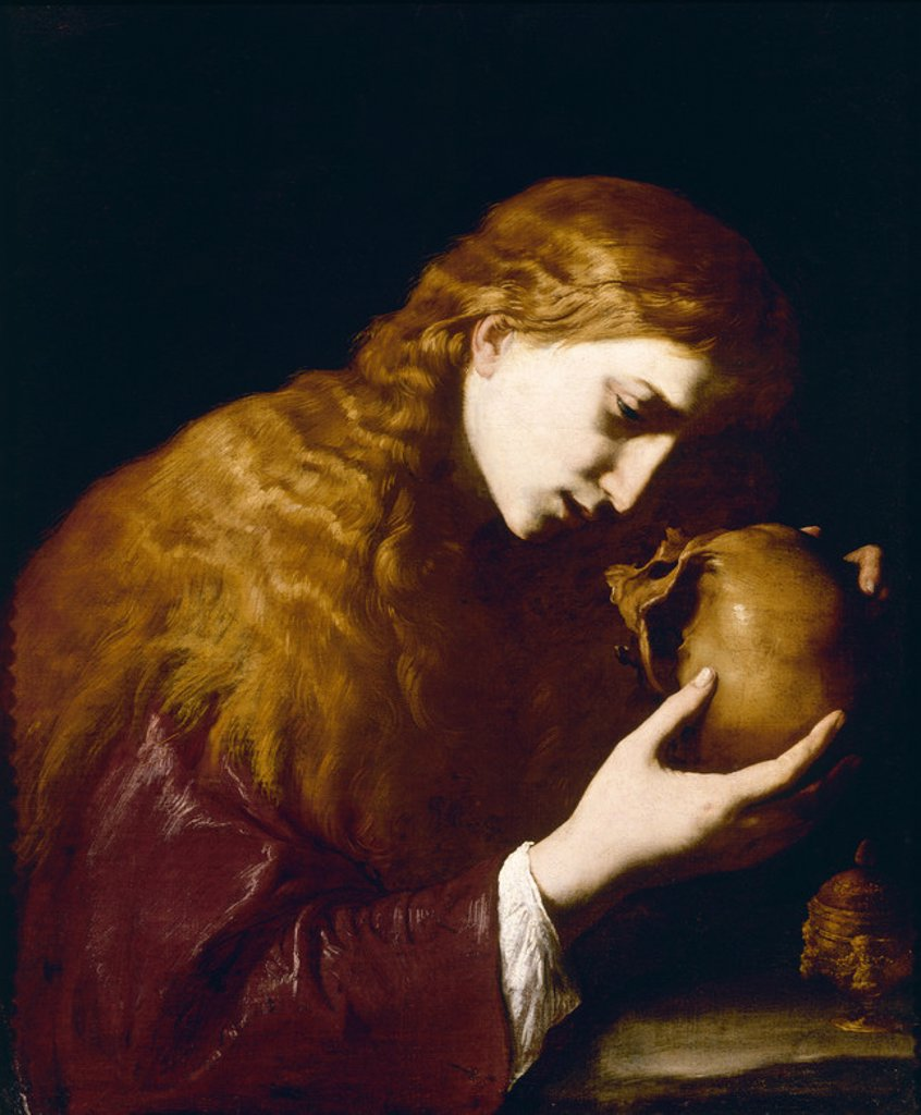 Stock Photo: 4409-19864 MAGDALENA EN MEDITACION- 0,78 x 0,61 m. Author: DE RIBERA, JUSEPE (LO SPAGNOLETTO). Location: PRIVATE COLLECTION, FLORENZ, ITALIA.
