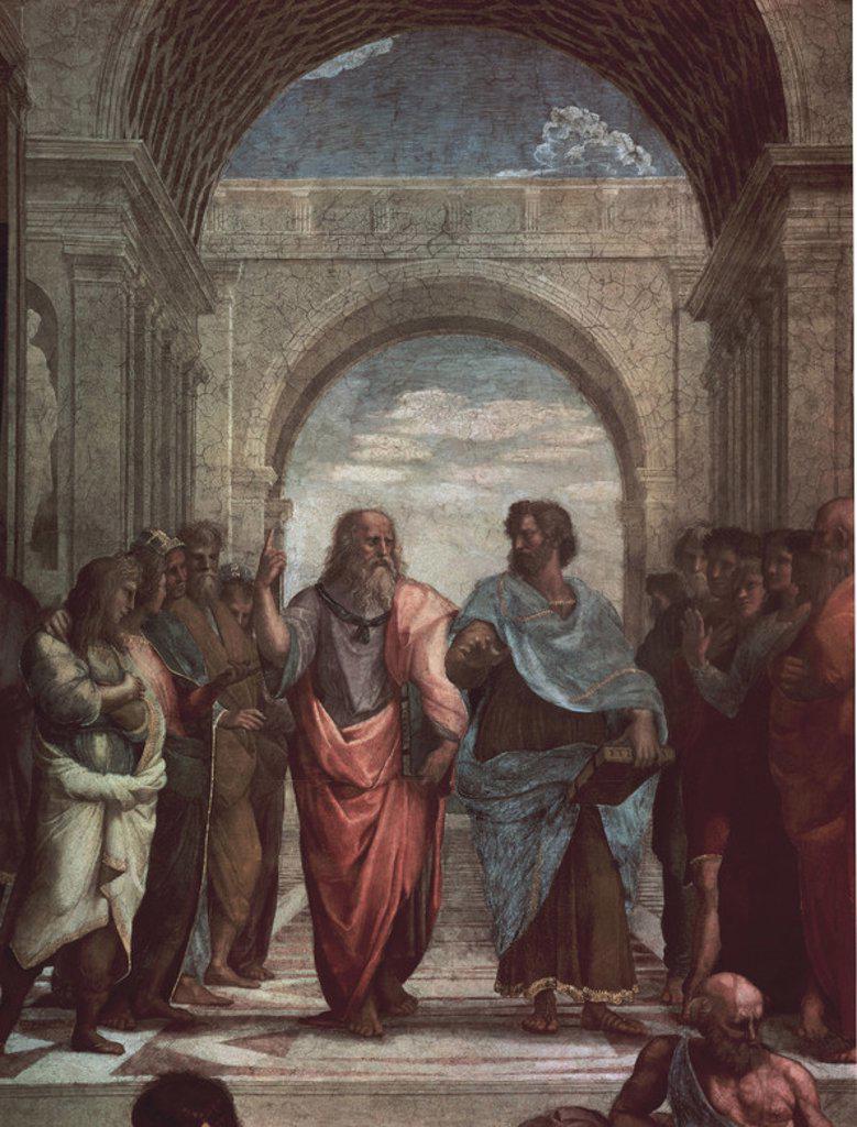Stock Photo: 4409-19899 Italian school. Detail of The School of Athens (Leonardo da Vinci as Plato and Aristotle).. Scuola di Atene . Vatican, Room of the Segnatura. Author: RAPHAEL. Location: MUSEOS VATICANOS-ESTANCIA DEL SELLO, VATICANO.