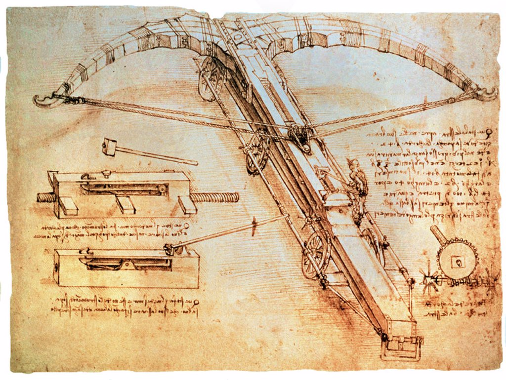 Stock Photo: 4409-19907 DIBUJO DE CATAPULTA GIGANTE (BALLESTA) - DIBUJO 1499. Author: LEONARDO DA VINCI. Location: MILAN, ITALIA.