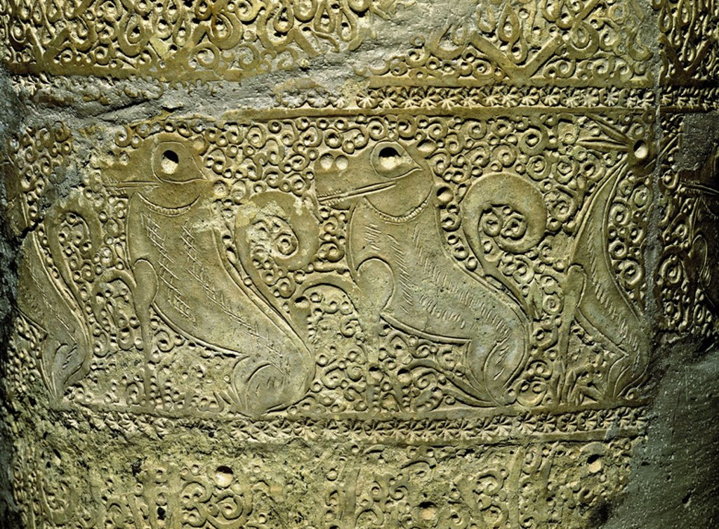 Stock Photo: 4409-20083 DETALLE DE TINAJA MURCIANA DECORACION APLICADA Y ESTAMPILLADA ALMOHADE - SIGLO XIII. Location: MUSEO ARQUEOLOGICO-COLECCION, SPAIN.