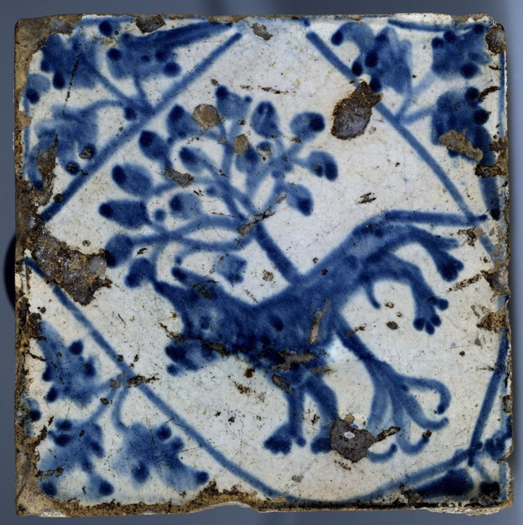 Stock Photo: 4409-20168 AZULEJO DE MANISES CON EL ESCUDO DEL ABAD CAIXAL DE POBLET - SIGLO XVI. Location: INSTITUTO VALENCIA DE DON JUAN-COLECCION, MADRID, SPAIN.