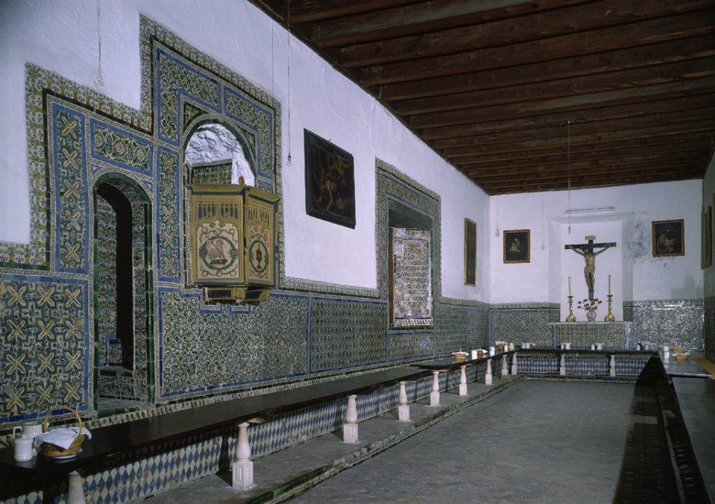 Stock Photo: 4409-20211 REFECTORIO CON EL ZOCALO DECORADO CON AZULEJOS DE ARISTA - SIGLO XVI. Location: CONVENTO DE SANTA CLARA, SPAIN.