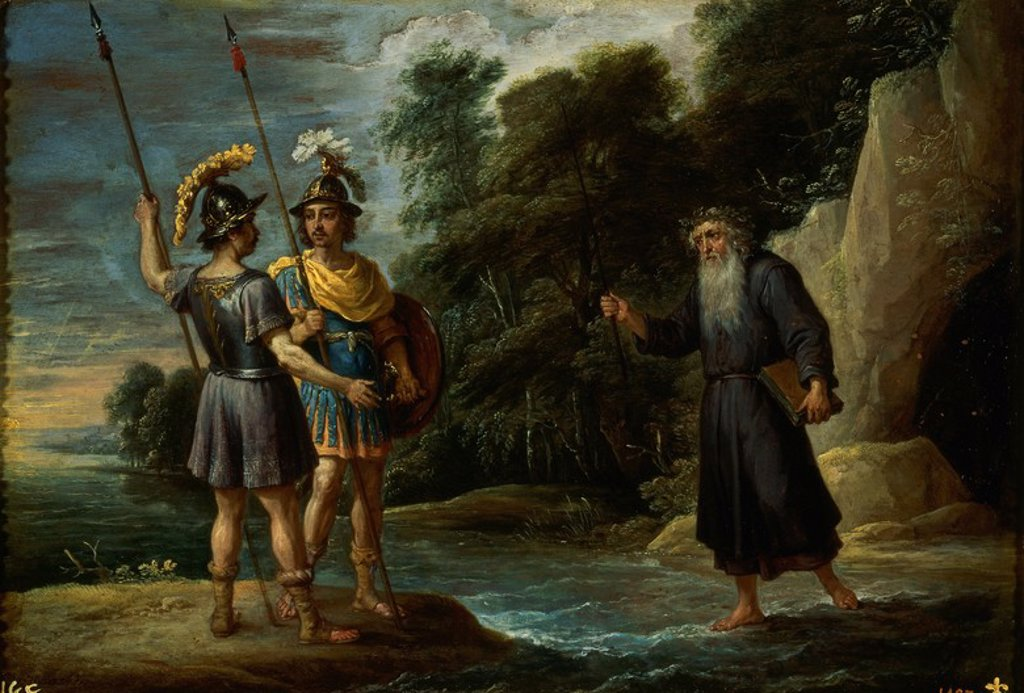 Stock Photo: 4409-20381 EL MAGO DESCUBRE A CARLOS Y UBALDO EL PARADERO DE REINALDO - SIGLO XVII - OLEO/COBRE - 27 x 39 cm - NP 1827 - ESCUELA FLAMENCA. Author: TENIERS THE YOUNGER, DAVID. Location: MUSEO DEL PRADO-PINTURA, MADRID, SPAIN.