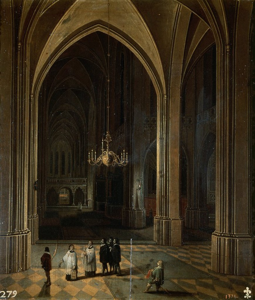 Stock Photo: 4409-20395 INTERIOR DE UNA IGLESIA: EL VIATICO - 1646 - OLEO/TABLA - 28 x 25 cm - NP 1597 - ESCUELA FLAMENCA. Author: NEEFS LOUIS / FRANCKEN FRANS III. Location: MUSEO DEL PRADO-PINTURA, MADRID, SPAIN.