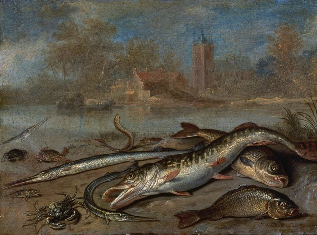 Stock Photo: 4409-20405 PESCADOS Y PAISAJE - HACIA 1656 - OLEO/COBRE - 14 x 19 cm - NP 2749 - ESCUELA FLAMENCA. Author: KESSEL, JAN VAN. Location: MUSEO DEL PRADO-PINTURA, MADRID, SPAIN.