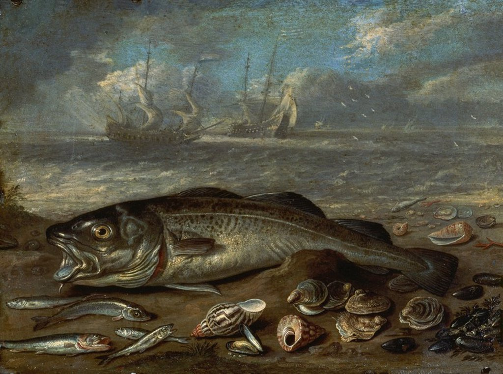 Stock Photo: 4409-20406 PESCADOS Y MARINA - SIGLO XVII - OLEO/COBRE - 14 x 19 cm - NP 2750 - ESCUELA FLAMENCA. Author: KESSEL, JAN VAN. Location: MUSEO DEL PRADO-PINTURA, MADRID, SPAIN.