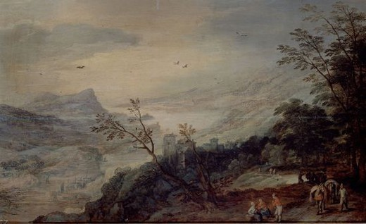 Stock Photo: 4409-20439 PAISAJE - SIGLO XVI - OLEO/TABLA - 42 x 68 cm - NP 1591 - NP 1591 - ESCUELA FLAMENCA. Author: MOMPER JOOST Y BRUEGHEL DE VELOURS. Location: MUSEO DEL PRADO-PINTURA, MADRID, SPAIN.