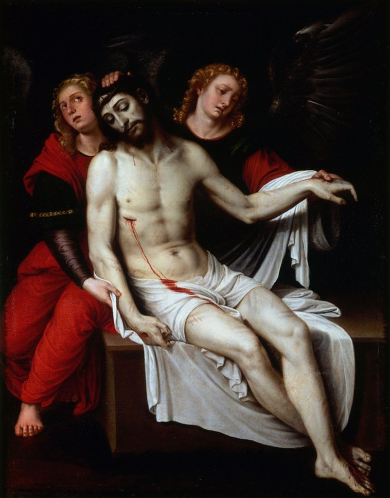 Stock Photo: 4409-20498 CRISTO MUERTO SOSTENIDO POR DOS ANGELES - SIGLO XVII - OLEO/LIENZO - 113 x 90 cm - NP 1061 - BARROCO ESPAÑOL. Author: RIBALTA, FRANCISCO. Location: MUSEO DEL PRADO-PINTURA, MADRID, SPAIN.