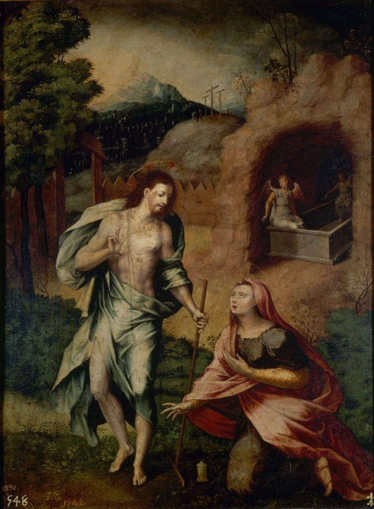 Stock Photo: 4409-20505 NOLI ME TANGERE - SIGLO XVI -  OLEO/TABLA - 61 x 47 cm - NP 523 - ESCUELA ITALIANA. Author: PERINO DEL VAGA. Location: MUSEO DEL PRADO-PINTURA, MADRID, SPAIN.