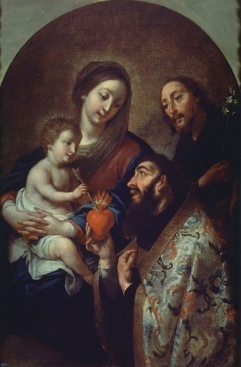 Spanish school. St Augustine and the Holy Family. San Agustin y La Sagrada Familia. Oil on canvas (107 x 72 cm). Madrid, El Prado. Author: VILADOMAT ANTONIO. Location: MUSEO DEL PRADO-PINTURA, MADRID, SPAIN. : Stock Photo