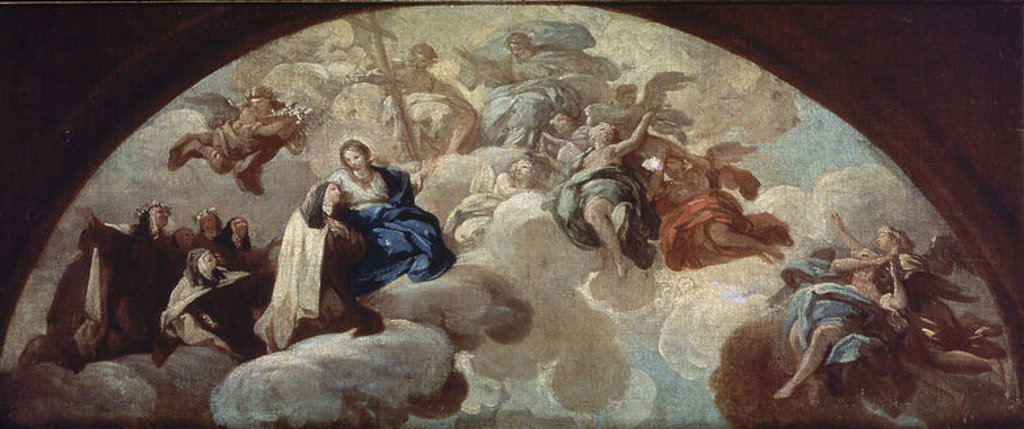 Stock Photo: 4409-20573 SANTA TERESA DE JESUS EN LA GLORIA - SIGLO XVIII - OLEO/LIENZO - 43 x 100 cm - NP 2531. Author: BAYEU FRANCISCO. Location: MUSEO DEL PRADO-PINTURA, MADRID, SPAIN.