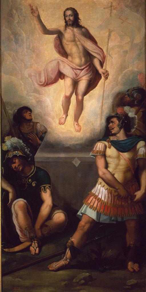 Italian school. The Resurrection. La resurrección del Señor. Oil on canvas (173 x 71 cm. Madrid, El Prado. Author: ZUCCARO FEDERICO DISCIPULO. Location: MUSEO DEL PRADO-PINTURA, MADRID, SPAIN. : Stock Photo