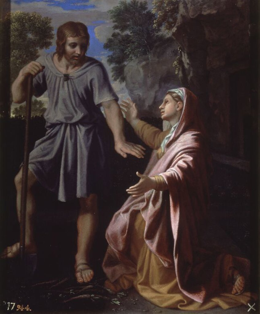Stock Photo: 4409-20581 NOLI ME TANGERE - HACIA 1657 - OLEO/LIENZO - 47 x 39 cm - NP 2306 - ESCUELA FRANCESA. Author: POUSSIN, NICOLAS. Location: MUSEO DEL PRADO-PINTURA, MADRID, SPAIN.