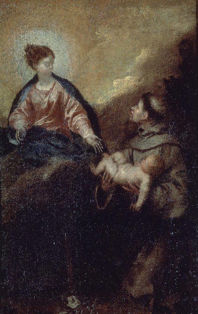 SAN ANTONIO DE PADUA - BOCETO - 1645-1652 - OLEO/LIENZO - 28 x 19 cm - NP 3041 - BARROCO ESPAÑOL. Author: CANO, ALONSO. Location: MUSEO DEL PRADO-PINTURA, MADRID, SPAIN. : Stock Photo