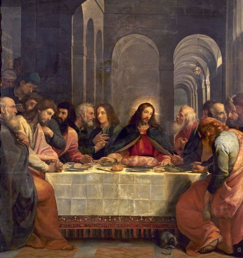 Stock Photo: 4409-20661 Italian school. The Last Supper. La Ultima Cena. Oil on canvas (256 x 244 cm). Madrid, El Prado. Author: CARDUCHO BARTOLOME. Location: MUSEO DEL PRADO-PINTURA, MADRID, SPAIN.