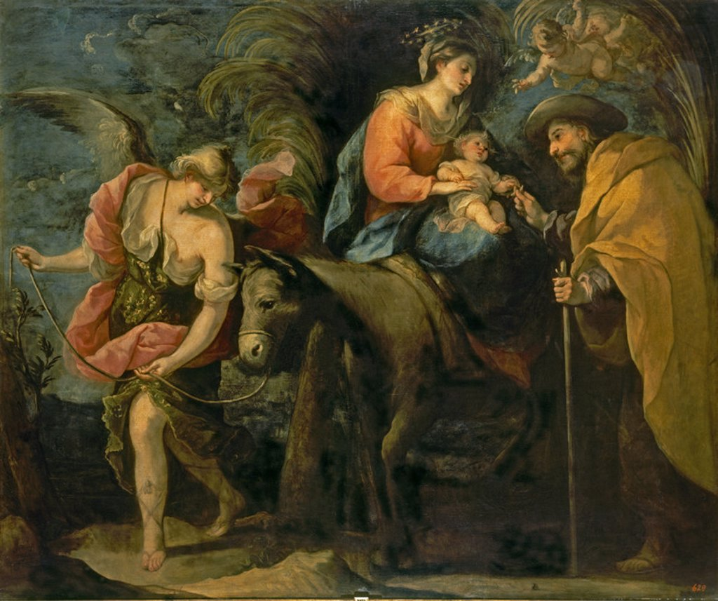 Stock Photo: 4409-20739 Spanish school. Flight into Egypt. La huida a Egipto. Oil on canvas (209 x 250 cm). Madrid, El Prado. Author: MORENO, JOSE. Location: MUSEO DEL PRADO-PINTURA, MADRID, SPAIN.