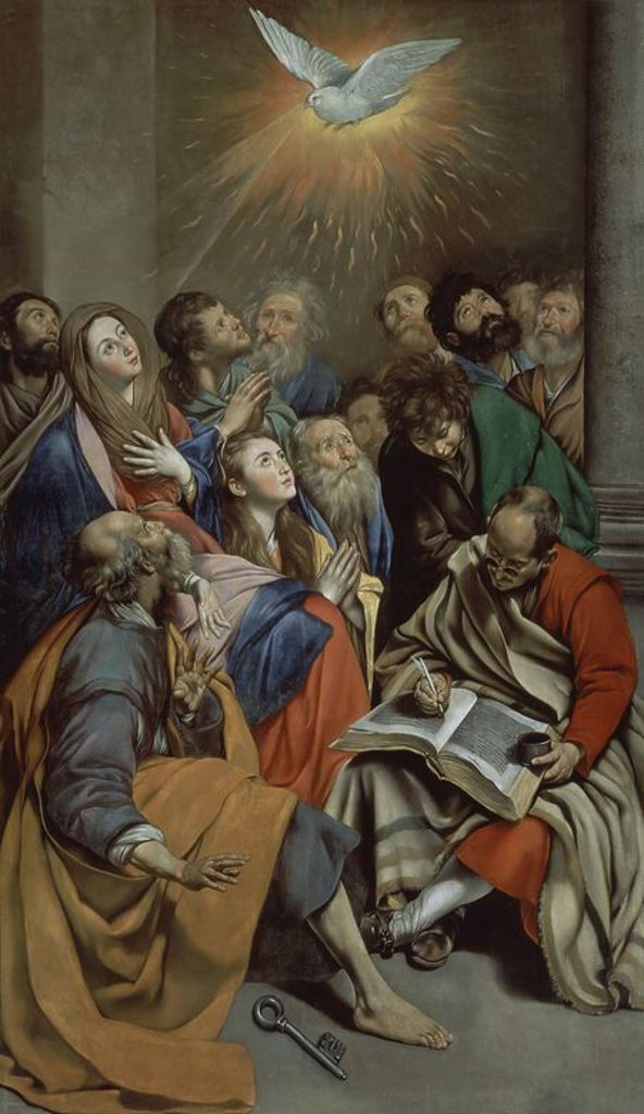 Spanish school. Pentecost. Pentecostes. Oil on canvas (285 x 163 cm). Madrid, El Prado. Author: MAINO, FRAY JUAN BAUTISTA. Location: MUSEO DEL PRADO-PINTURA, MADRID, SPAIN. : Stock Photo