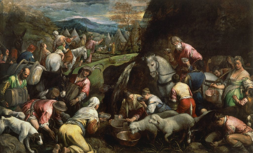 Stock Photo: 4409-20843 Italian school. Moses's Journey . El viaje de Moises. Oil on canvas (145 x 234 cm). Madrid, El Prado. Author: BASSANO, JACOPO DA PONTE. Location: MUSEO DEL PRADO-PINTURA, MADRID, SPAIN.