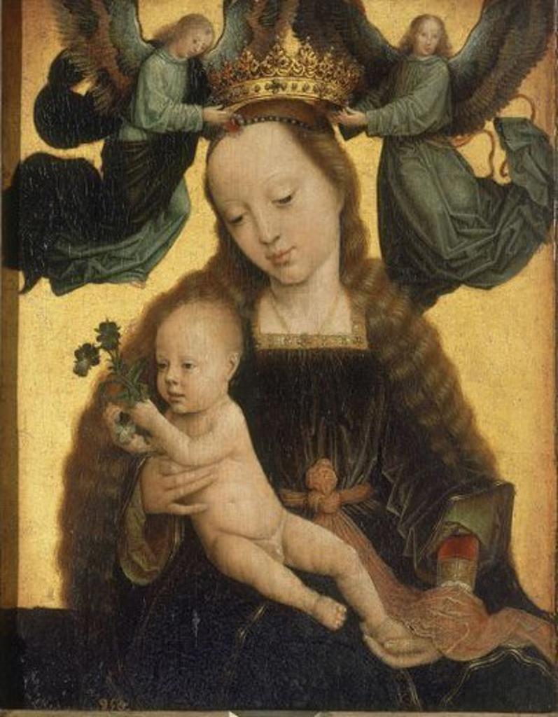 Stock Photo: 4409-20867 Madonna and Child Crowned by Two Angels, c.1520 - 34x27 cm - oil on panel - NP 1512 -Flemish painting. Author: DAVID, GERARD. Location: MUSEO DEL PRADO-PINTURA, MADRID, SPAIN. Also known as: LA VIRGEN, EL NIÑO Y DOS ANGELES QUE LA CORONAN.