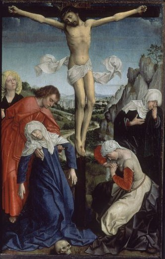 Stock Photo: 4409-20875 LA CRUCIFIXION - HACIA 1510 - OLEO/TABLA - 47 x 31 - NP 1886 - ESCUELA FLAMENCA. Author: VAN DER WEYDEN DISCIPULO. Location: MUSEO DEL PRADO-PINTURA, MADRID, SPAIN.