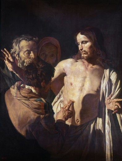 INCREDULIDAD DE SANTO TOMAS - SIGLO XVII - OLEO/LIENZO - 125 x 99 - NP 2094. Author: STOMER, MATTHIAS. Location: MUSEO DEL PRADO-PINTURA, MADRID, SPAIN. : Stock Photo