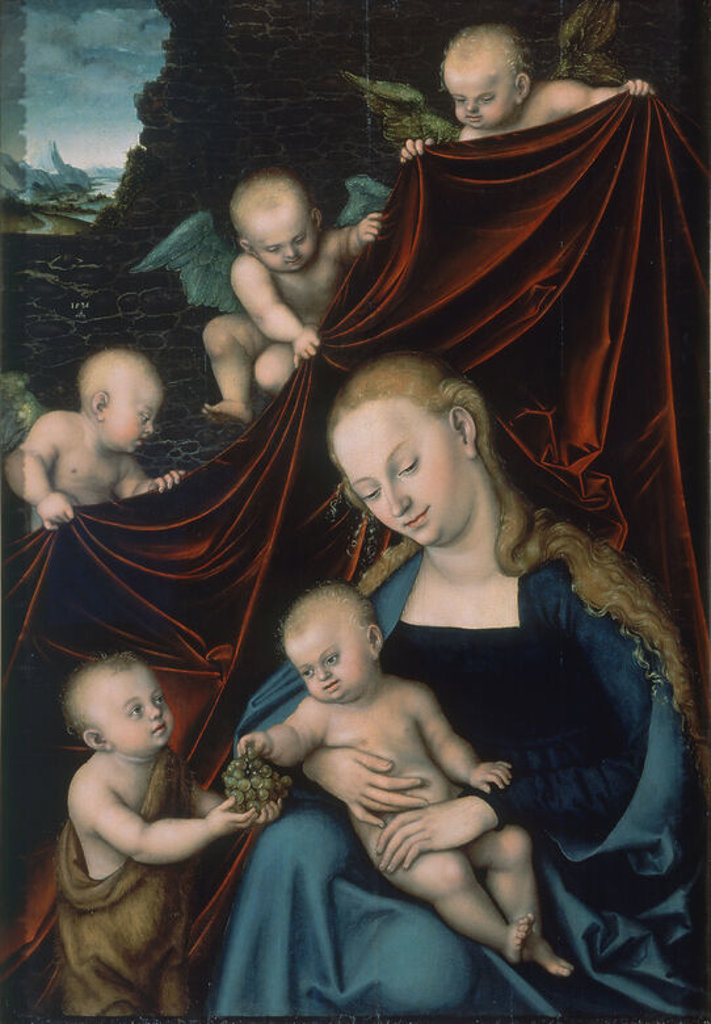 VIRGEN CON EL NIÑO JESUS, SAN JUANITO Y ANGELES - 1536 - OLEO/TABLA - 121,3 x 83,4 cm - NP 7440 - RENACIMIENTO ALEMAN. Author: LUCAS CRANACH THE ELDER. Location: MUSEO DEL PRADO-PINTURA, MADRID, SPAIN. : Stock Photo