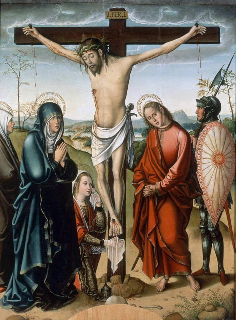 Stock Photo: 4409-21083 LA CRUCIFIXION - SIGLO XVI - OLEO/TABLA - 133 x 100 cm - NP 3205 - PRIMER RENACIMIENTO CASTELLANO. Author: MAESTRO DE ASTORGA. Location: MUSEO DEL PRADO-PINTURA, MADRID, SPAIN.