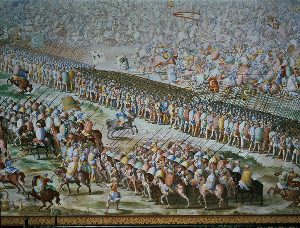 P-DET-BATALLA DE HIGUERUELA ENTRE CASTELLANOS Y MOROS EN 1431- PINTADA EN 1585-ANTES DE RESTAURAR. Author: GRANELLO-TAVARON-CASTELLO Y CAMBIASSO. Location: MONASTERIO-PINTURA, SAN LORENZO DEL ESCORIAL, MADRID, SPAIN. : Stock Photo