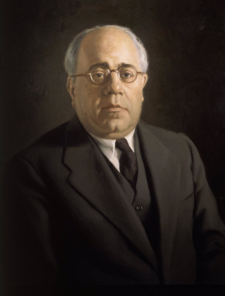 RETRATO DE MANUEL AZAÑA (1880/1940) OLEO. Author: SEGURA ENRIQUE. : Stock Photo