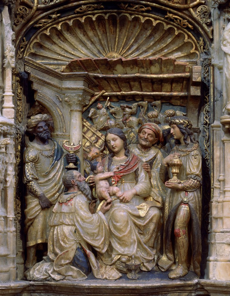 Stock Photo: 4409-21333 INTERIOR-RETABLO MAYOR-1509-PREDELA:ADORACION DE LOS REYES. Author: FORMENT DAMIAN. Location: BASILICA DEL PILAR, ZARAGOZA, SARAGOSSA ZARAGOZA, SPAIN.