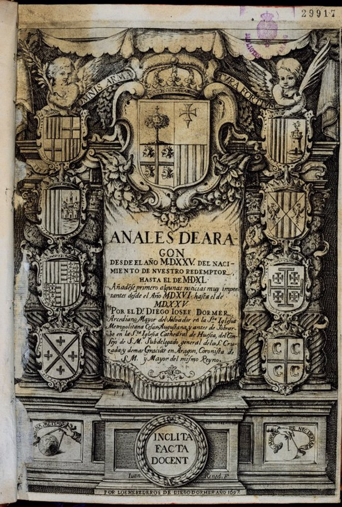 Stock Photo: 4409-21470 ANALES DEL REINO DE ARAGON DESDE 1525 AL 1540 - PORTADA DE 1697. Author: DORMER DIEGO JOSE. Location: SENADO-BIBLIOTECA-COLECCION, MADRID, SPAIN.