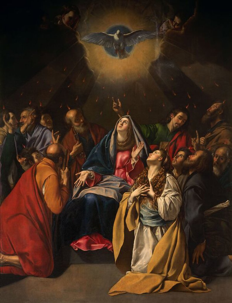 Stock Photo: 4409-21627 PENTECOSTES-L.3,24X2,46-DEPOSITO MUSEO PRADO-NºINV 328-CATALOGO Nº 216. Author: MAINO, FRAY JUAN BAUTISTA. Location: IGLESIA DE SAN JERONIMO EL REAL, MADRID, SPAIN.