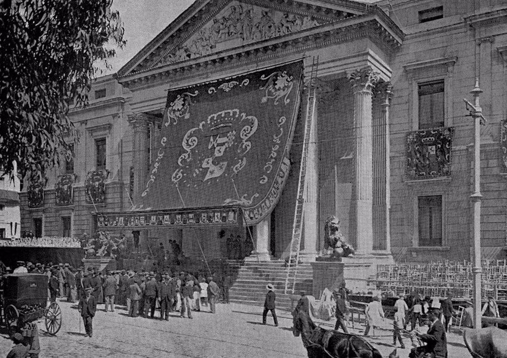 Stock Photo: 4409-21635 ILUSTRAC ESP/AMER-ASPECTO CONGRESO DIPUTADOS EL DIA DE LA JURA DE ALFONSO XIII 1902. Location: CONGRESO DE LOS DIPUTADOS-BIBLIOTECA, SPAIN.