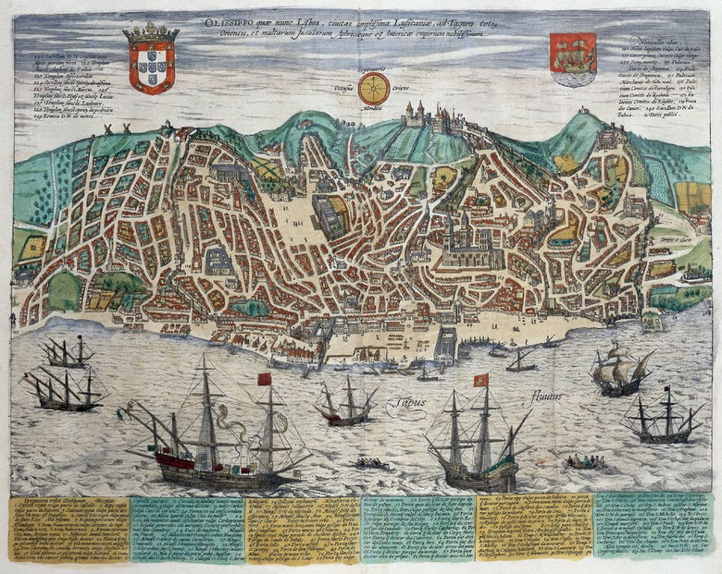 CIVITATES ORBIS TERRARUM - VISTA DE LISBOA - GRABADO - SIGLO XVI. Author: BRAUN GEORG 1541-1622 / HOGENBERG FRANS. Location: PALACIO REAL-BIBLIOTECA, MADRID, SPAIN. : Stock Photo