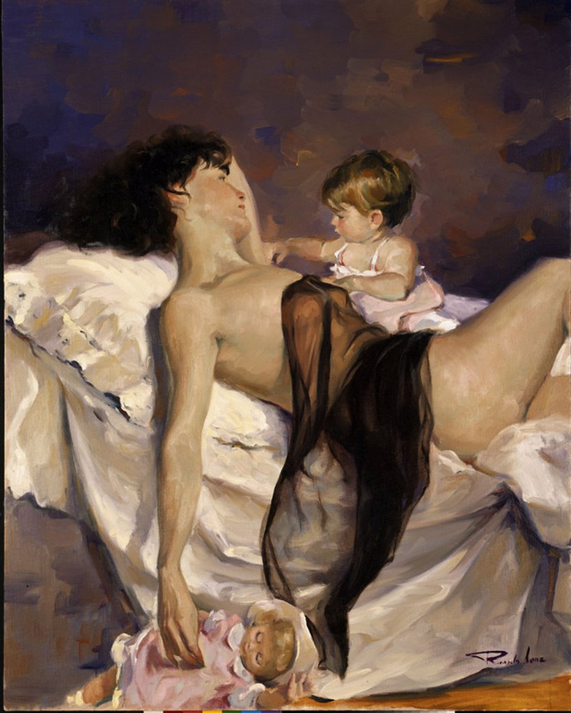 (MADRE TUMBADA CON SU HIJA) - SIGLO XX. Author: SANZ RICARDO. Location: PRIVATE COLLECTION, MADRID, SPAIN. : Stock Photo