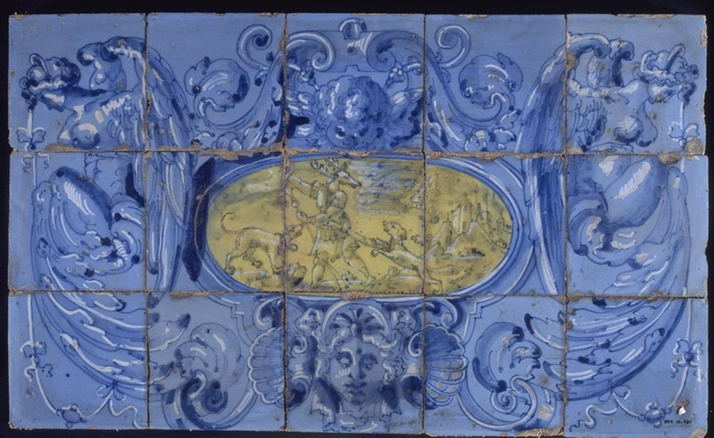 PANEL DE AZULEJOS-MITO DE ACTEON DEL PALACIO DE SESSA Y ALTAMIRA-TORRIJOS-TOLEDO-TALAVERA HAC 1600. Author: LOAYSA HERNANDO DE. Location: MUSEE D'ARTS DECORATIFS, MADRID, SPAIN. : Stock Photo