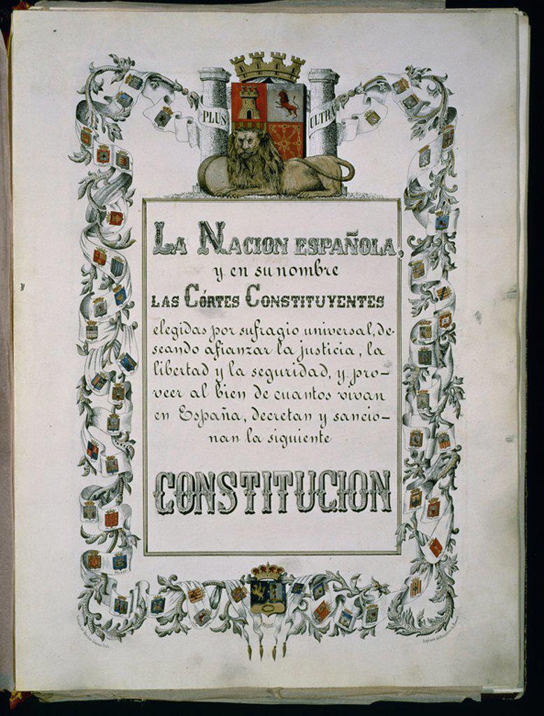 Stock Photo: 4409-22166 PORTADA DE LA CONSTITUCION DE 1869 - CONSTITUCION QUE MANTENIA LA FORMA MONARQUICA DEL ESTADO Y EL SISTEMA BICAMERAL. Location: CONGRESO DE LOS DIPUTADOS-BIBLIOTECA, MADRID, SPAIN.