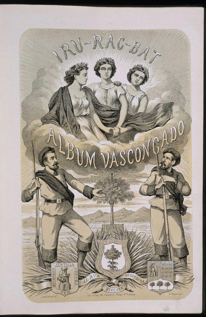 Stock Photo: 4409-22184 ALBUM VASCONGADO - CONMEMORATIVO DE LA  LLEGADA A CUBA DE LOS TERCIOS VOLUNTARIOS ENVIADOS POR ALAVA,GUIPUZCOA Y VIZCAYA - 1869. Author: ELEIZEGUI J M. Location: CONGRESO DE LOS DIPUTADOS-BIBLIOTECA, MADRID, SPAIN.