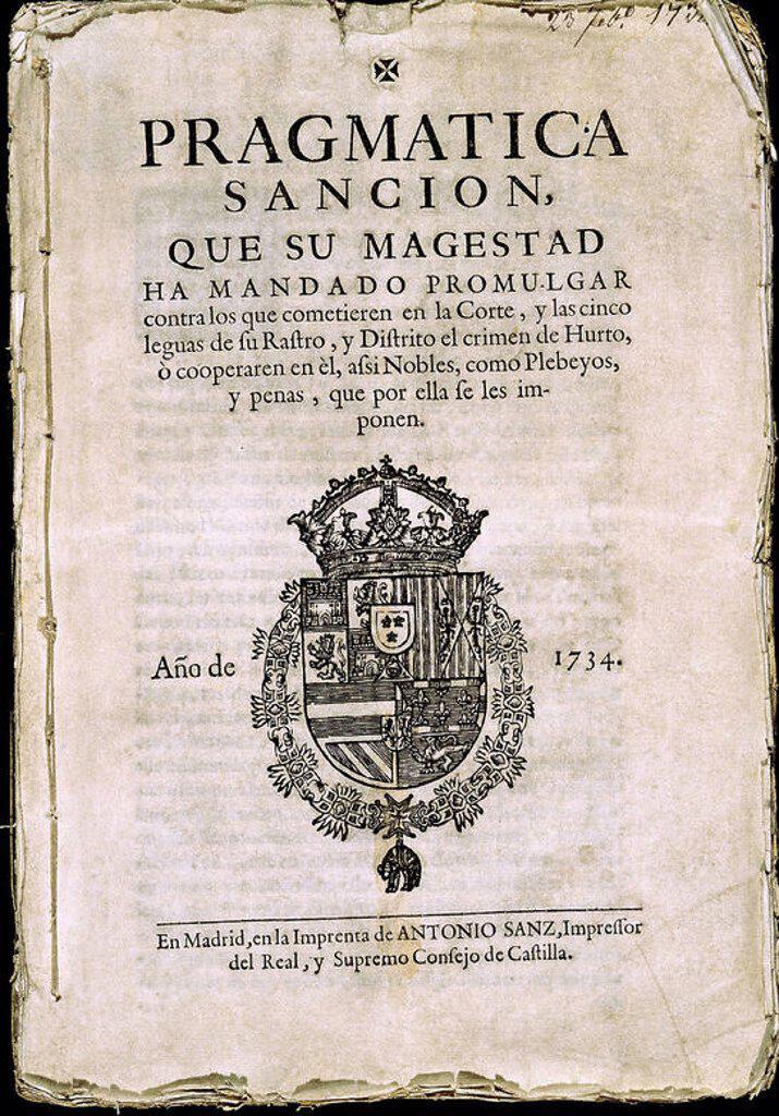 Stock Photo: 4409-22758 PRAGMATICA SANCION QUE SU MAGESTAD HA MANDADO PROMULGAR (...) - EDITADO EN 1734. Location: SENADO-BIBLIOTECA-COLECCION, MADRID, SPAIN.