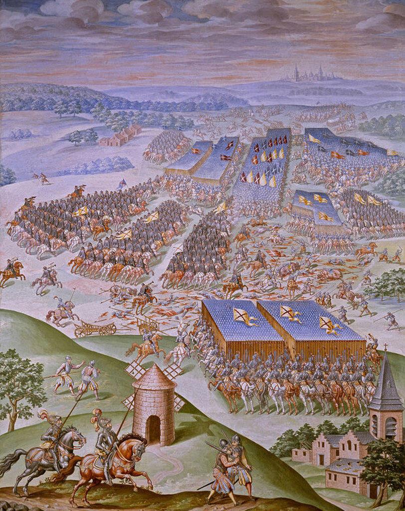 DETALLE DE LA BATALLA DE SAN QUINTIN (1557) - PINTURA AL FRESCO REALIZADA EN 1585 - SALA DE BATALLAS - DESPUES DE RESTAURAR. Author: GRANELLO-TAVARON-CASTELLO Y CAMBIASSO. Location: MONASTERIO-PINTURA, SAN LORENZO DEL ESCORIAL, MADRID, SPAIN. : Stock Photo