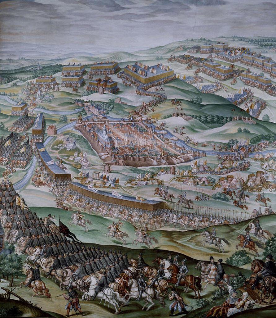 DET- BATALLA DE SAN QUINTIN (1557) - PINTURA AL FRESCO 1585- SALA DE BATALLAS- DESPUES DE RESTAURAR. Author: GRANELLO-TAVARON-CASTELLO Y CAMBIASSO. Location: MONASTERIO-PINTURA, SAN LORENZO DEL ESCORIAL, MADRID, SPAIN. : Stock Photo