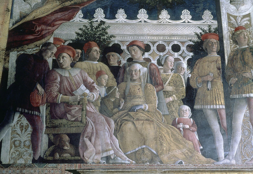 LA FAMILIA GONZAGA Y SU CORTE - 1471-74 - FRESCO DE LA CAMARA DE LOS ESPOSOS - RESTAURADO - RENACIMIENTO ITALIANO. Author: MANTEGNA, ANDREA. Location: DUCAL PALACE, MANTUA. : Stock Photo