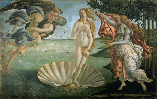 Stock Photo: 4409-22912 The Birth of Venus - ca. 1485 - 172'5x278'5 cm - tempera on canvas - restored. Author: BOTTICELLI, SANDRO. Location: GALERIA DE LOS UFFIZI, FLORENZ. Also known as: EL NACIMIENTO DE VENUS.